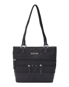 Beaumont Zipper Front Leather Tote