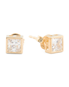 14k Gold Princess Cut 4mm Cubic Zirconia Stud Earrings