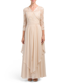 Three Quarter Sleeve Lace Gown