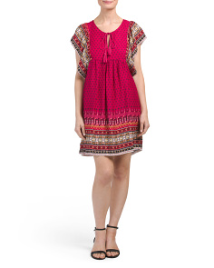 Juniors Tassel Tie Up Border Print Dress