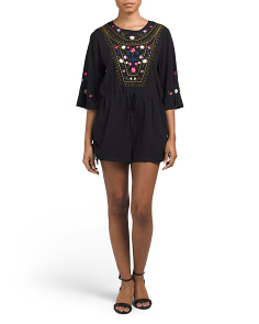 Juniors Embroidered Bell Sleeve Romper