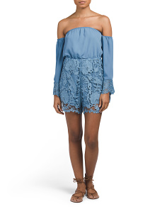 Juniors Off The Shoulder Romper With Crochet