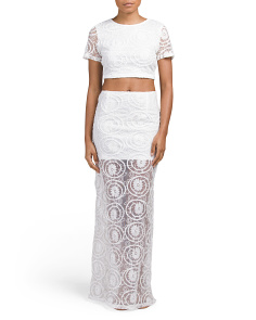 Juniors 2pc Lace Crop Top & Maxi Skirt
