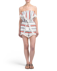 Juniors Striped Romper With Tassels And Fringe