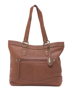 Curved Top Large Leather Tote