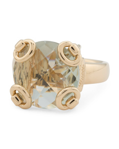 Made In Italy 18k Gold Prasiolite Horsebit Cocktail Ring