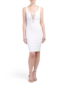 Made In USA Lace Up Midi Dress