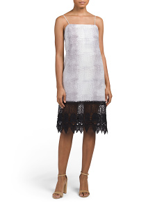 Made In USA Printed Slip Dress With Crochet Lace