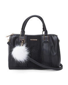 Mesh Satchel With Pom