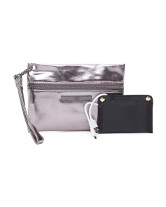 Front Zip Wristlet With Charger