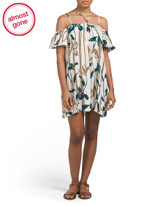 Juniors Off Shoulder Crepon Dress