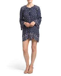 Juniors Bell Sleeve Tie Front Floral Dress