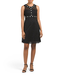 Sleeveless Applique Lace Dress