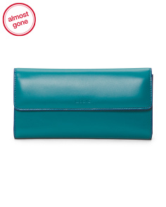 Audrey Leather Checkbook Clutch Wallet