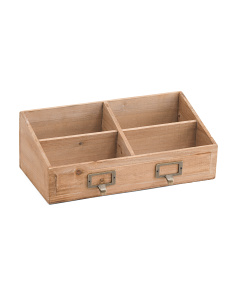 4 Slot Slanted Wood Organizer