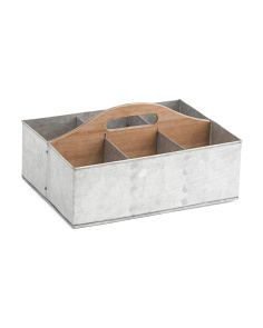 6 Slot Metal And Wood Storage Caddy