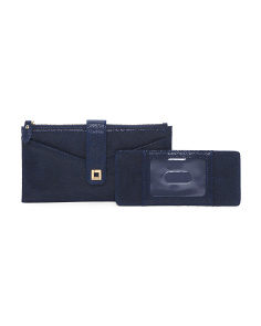 2pc Zip Leather Pouch