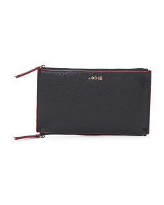 Kate Lani Double Zip Leather Pouch