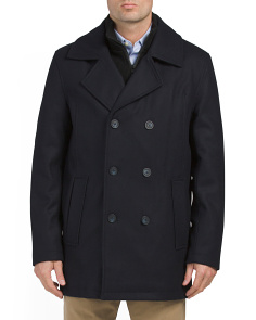 Wool Blend Pea Coat With Knit Bib