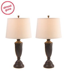 Set Of 2 Linen Shade Lamps