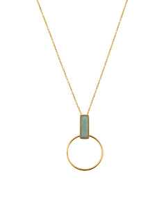 Made In India 18k Plate Amazonite Bar Circle Necklace