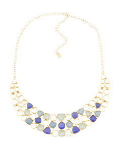 Made In India 18k Plate Multi Blue Gemstone Collar Necklace
