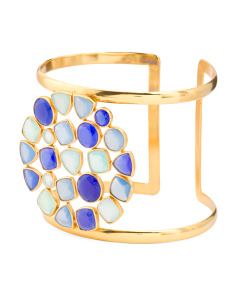 Made In India 18k Gold Plate Multi Blue Gemstone Cuff Bracelet