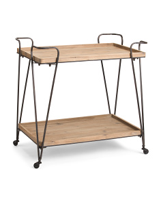 Fir Wood 2 Tier Bar Cart