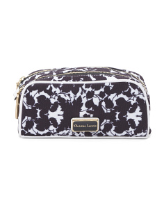 Double Zip Floral Cosmetic Case