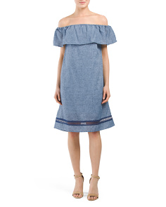Off The Shoulder Linen Blend Dress