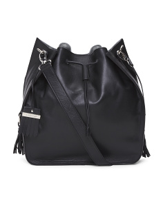 Made In Italy Leather Drawstring Crossbody