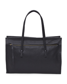 Made In Italy Front Zip Pocket Leather Tote