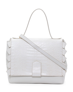 Made In Italy Leather Croco Satchel