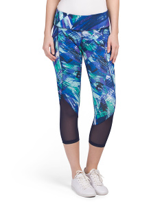 Power Mesh Paintbrush Print Capris