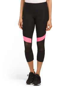Colorblock Capris With Mesh