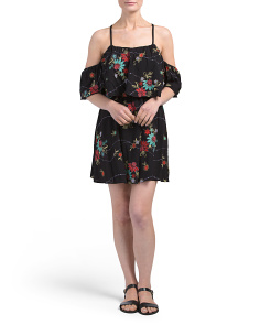 Juniors Embroidered Floral Baydoll Dress