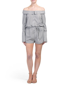 Juniors Striped Shirting Off The Shoulder Romper