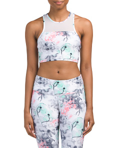 Floral High Neck Athletic Bra