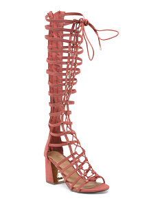 Lace Up Block Heel Gladiator Sandals