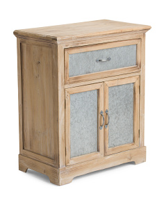 Galvanized Metal And Wood Storage Cabinet