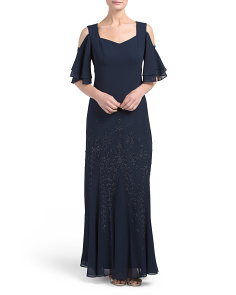 Made In USA Cold Shoulder Beaded Long Gown
