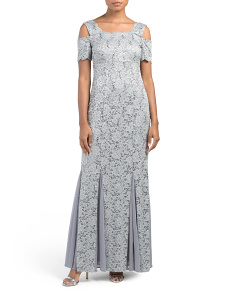 Cold Shoulder Lace Gown