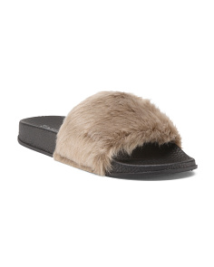 Faux Fur One Band Pool Slides