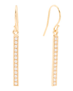 Made In Israel Gold Plated Silver Cubic Zirconia Linear Earrings