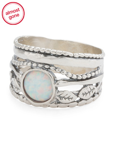 Made In Israel Sterling Silver Opal Ring