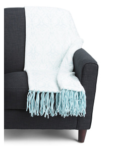 Medallion Damask Fringe Throw