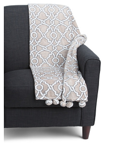 Outlined Trellis Pom Throw