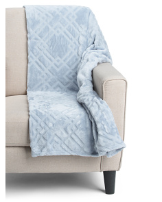 Oversized Diamond Cut Plush Throw
