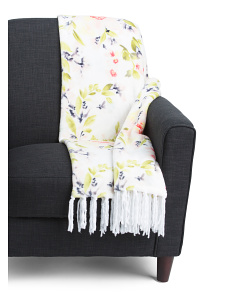 Watercolor Floral Fringe Throw