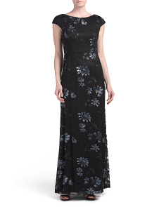 Sequin Floral Lace Evening Gown